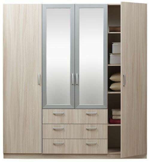 Шкаф Эконом 4-дверный с зеркалом 5.15